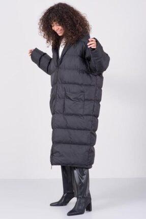 Bsl Kadın Siyah Uzun Şişme Mont
