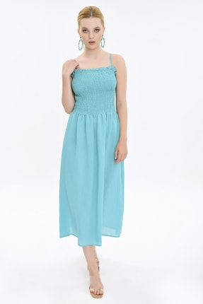 Hanna's Kadın Turkuaz İp Askılı Yastık Büzgülü Elbise