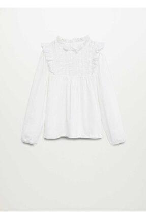 Mango Kırık Beyaz Kız Çocuk Delik detaylı organik pamuklu tişört