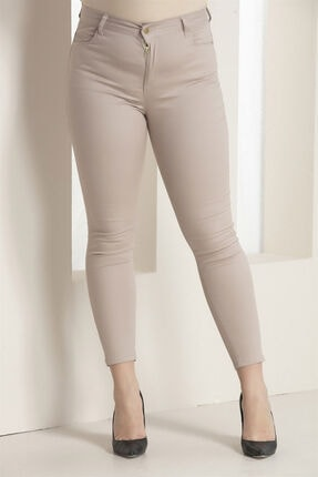Rmg Kadın Krem Kanvas Yüksek Bel Dar Paça Pantolon Rg1251p