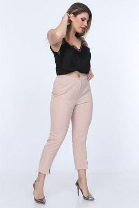 Rmg Kadın Krem Kumaş Yüksek Bel Dar Paça Pantolon Rg1382