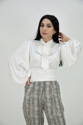 Lila Rose Kadın Beyaz Bağlamalı Balon Kol Saten Bluz