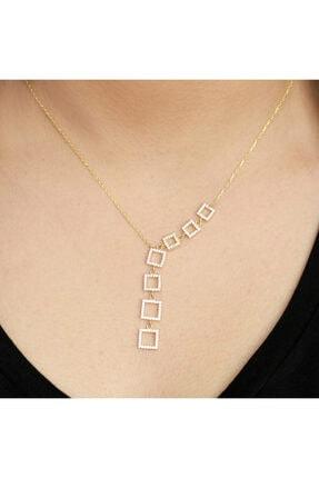 Midyat Gümüş Dünyası Kare Motifli Altın Kaplama Bayan Gümüş Hayalet Kolye