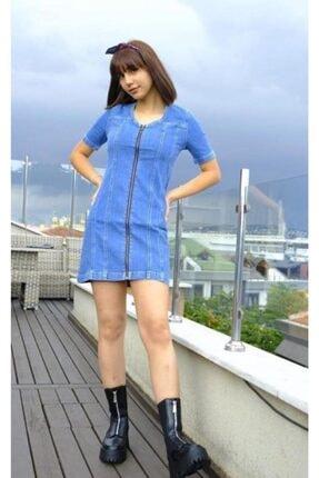 Bsl Kadın Mavi Kısa Denim Elbise