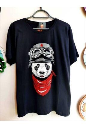 Köstebek Unisex Siyah Kızıl Yıldız Panda T-shirt