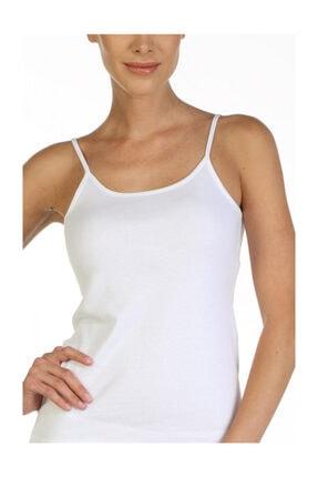Çift Kaplan Kadın Beyaz Ip Askılı Ribana Atlet 723