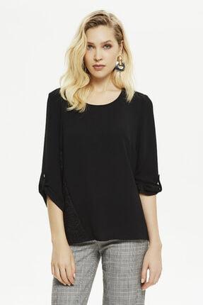 Naramaxx Kadın Siyah Dantel Detaylı Apoletli Bluz