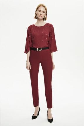Naramaxx Kadın Bordo Klasik Dar Kesim Pantolon