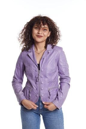 Deriderim Kadın Lila Hakiki Deri Ceket 4691d938