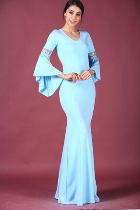 Nesrinden Kollar Volanlı Mavi Kadın Balık Model Abiye