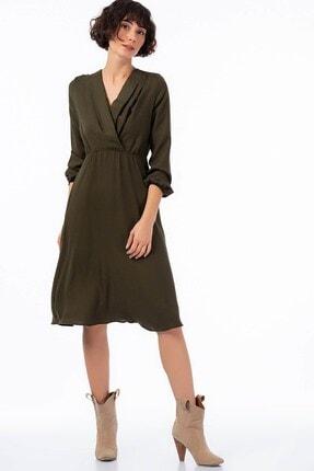 Cotton Mood Kadın Haki Yün Viskon Şardon Beli Lasikli Kruvaze Yaka Pileli Elbise