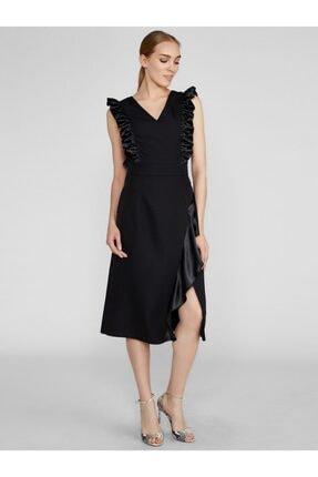 Vekem Kadın Siyah Fırfır Ve Yırtmaç Detaylı Elbise 8209-0154