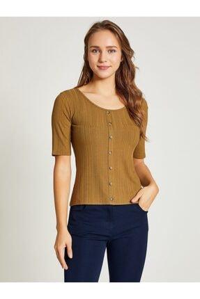 Vekem Kadın Kahverengi Düğme Detaylı Bluz 9107-0183