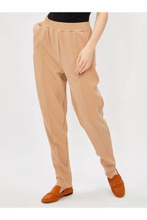 Vekem Kadın Bej Beli Lastikli Rahat Kesim Pantolon