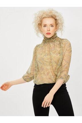 Vekem Kadın Yeşil Yakası Büzgülü Şifon Bluz