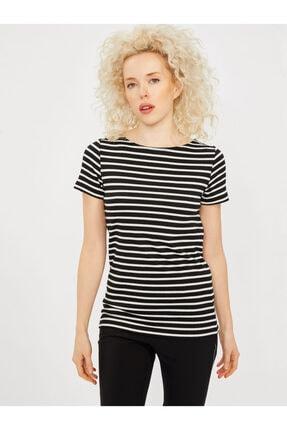 Vekem Kadın Siyah Beyaz Sırt Detaylı Simli Bluz