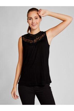 Vekem Kadın Siyah Dantel ve Şifon Detaylı Bluz 8107-0173