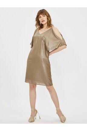Vekem Kadın Vizon Spagetti Askılı V Yaka Elbise 9109-0080