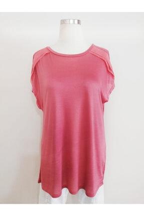 Vekem Kadın Pembe Sıfır Yaka Japone Kol Bluz 9107-0071