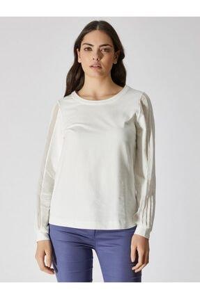 Vekem Kadın Kırık Beyaz Kolları Şifon Detaylı Sweatshirt 9111-0007
