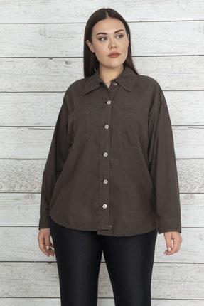 Şans Kadın Haki Metal Düğmeli Kontrast Dikişli Gömlek 65N20521
