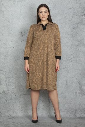 Şans Kadın Camel Ön Pat Düğmeli Rahat Kesim Kendinden Desenli Elbise 65N20595