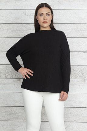 Şans Kadın Siyah Kendinden Çizgili Likralı Viskon Kumaş Bluz 65N20496