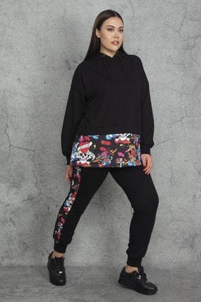 Şans Kadın Siyah Kapüşonlu Fermuar Ve Baskı Detaylı Sweatshirt Pantolon Takım 65N20320