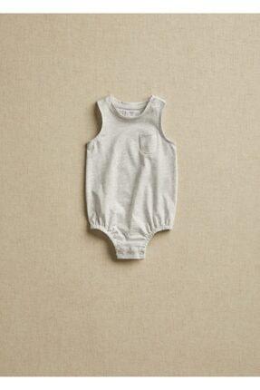 Mango Unisex Bebek Beyaz Organik Pamuklu Çıtçıtlı Badi