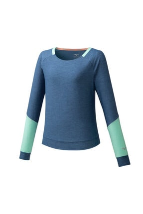 Mizuno Style Ls Shirt Kadın Mavi T-shirt