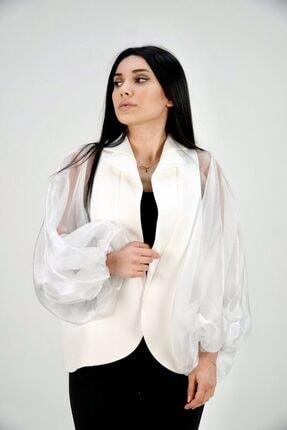 Lila Rose Kadın Beyaz Kolları Organze Ceket