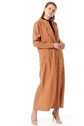 Nihan Kadın Kahverengi Tesettür Pardesü B5104
