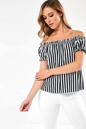 Vero Moda Kadın Lacivert Carmen Yaka Çizgili Bluz 10228973 VMHELENMILO