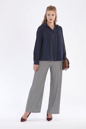 Günay Kadın Lacivert Çizgili Kanvas Yüksek Bel Normal Paça Pantolon Fmn38877