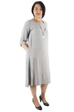 Günay Kadın Elbise Lm64150 Ilkbahar Yaz O Yaka Keten Spor-bebe Mavi