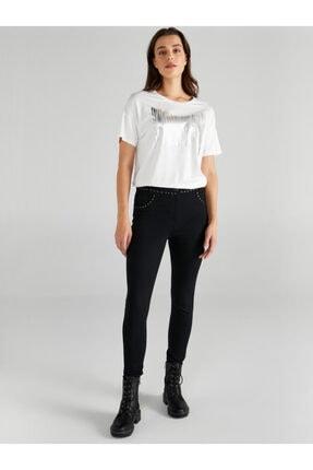 Faik Sönmez Kadın Siyah Trok Detaylı Skinny Fit Çelikli Örme Pantolon 61567