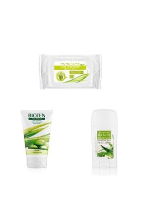 Hunca Deodorant Stick 50 Ml Aloe Vera & Yeşil Çay+aloe Vera Jel 150 Ml+hl Makyaj Temizleme Mendili 24'lü