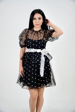 Lila Rose Kadın Siyah Küçük Çiçek Desenli Organze Elbise