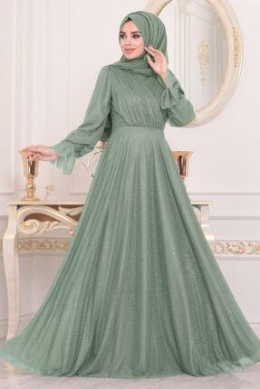 Tesettürlü Abiye Elbiseler - Mint Tesettür Abiye Elbise 22202mınt ARM-22202 00019_Mint