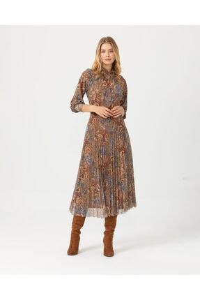 Seçil Kadın Kahverengi Eteği Pliseli Desenli Elbise