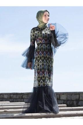 Benin Kadın Siyah Nakış Detaylı Tüllü Abiye Elbise 392642