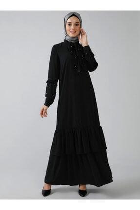 Refka Kadın Siyah İnci Detaylı Volanlı Elbise 1160436