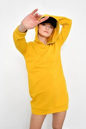 Hanna's Kadın Hardal Kapüşonlu Sweat Elbise