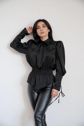Lila Rose Kadın Siyah Oturtmalı Saten Bluz