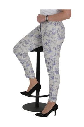 Günay Kadın Beyaz Keten Normal Bel Düz Paça Pantolon Lm62033