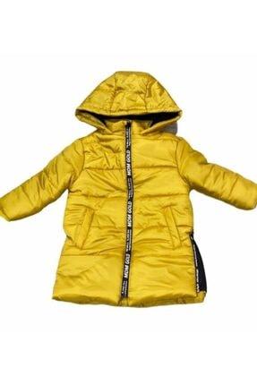 Midimod Unisex Çocuk Sarı Uzun Şişme Mont