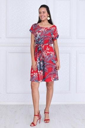 Cotton Mood Kadın Kırmızı Çıçek Desenlı Vis Çiçek DesBeli Lastikli Yarasa Kol Elbise