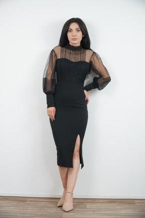 Lila Rose Kadın Siyah Tül Detaylı Kalem Elbise