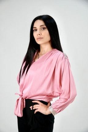 Lila Rose Kadın Pembe Taşlı Saten Bluz