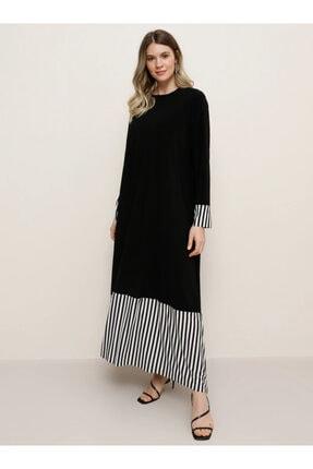Alia Çizgi Detaylı Elbise - Siyah Beyaz -